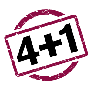 The text, 4+1, appears in black inside a maroon, rectangular frame.